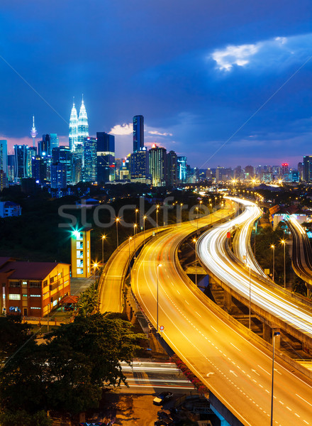 Куала-Лумпур Skyline ночь бизнеса служба здании Сток-фото © leungchopan