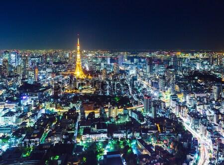 Tóquio linha do horizonte noite cidade arquitetura torre Foto stock © leungchopan