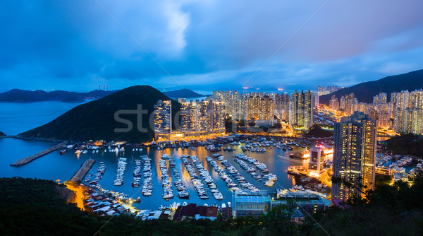 Aberdeen typhoon shelter at night Stock photo © leungchopan