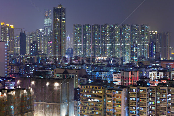 Wohnung Gebäude Nacht Stadt Wand home Stock foto © leungchopan