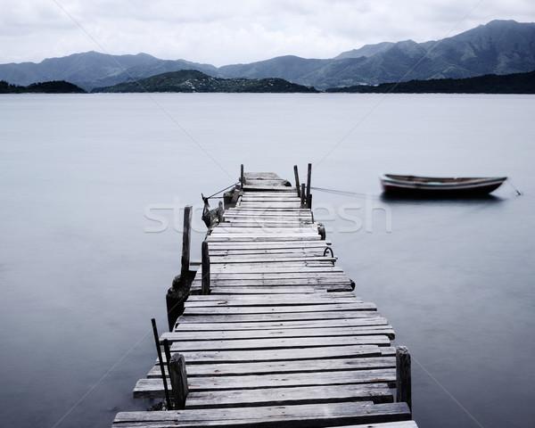 Kijken pier boot laag water landschap Stockfoto © leungchopan