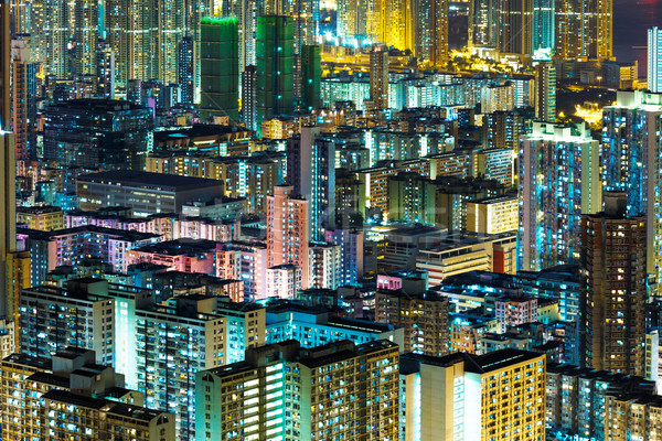 Kowloon downtown in Hong Kong at night Stock photo © leungchopan