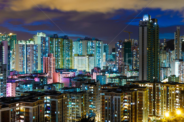Residential district in city at night Stock photo © leungchopan