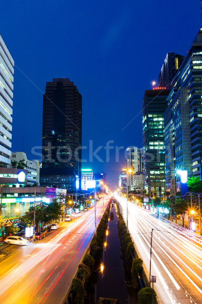Bangkok city and traffic trail Stock photo © leungchopan