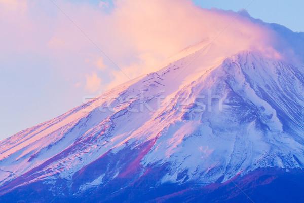 Fuji landschap sneeuw berg zonsopgang Stockfoto © leungchopan