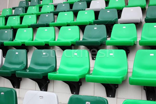 Audiencia asiento estadio deporte azul plástico Foto stock © leungchopan