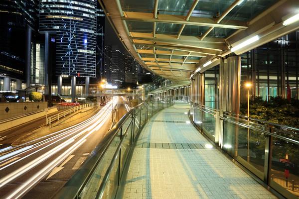 современных пешеходный мост ночь здании город городского Сток-фото © leungchopan