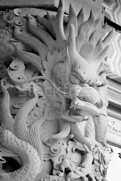 Foto stock: Dragão · chinês · estátua · viajar · pedra · arquitetura · poder