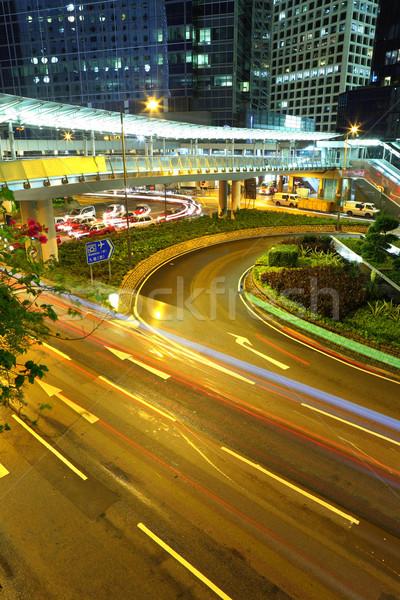Hong Kong zakenwijk nacht kantoor weg gebouw Stockfoto © leungchopan