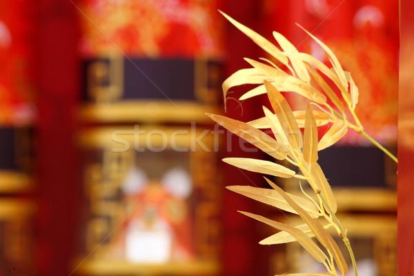 Ano novo chinês cena dourado bambu feliz tigre Foto stock © leungchopan