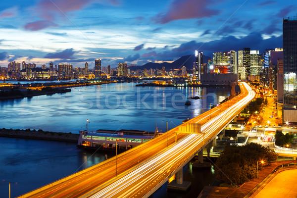 Stok fotoğraf: Hong · Kong · şehir · gece · şehir · manzara · mavi · karayolu