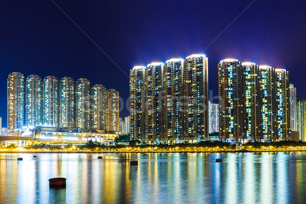 Stok fotoğraf: Hong · Kong · gece · su · deniz · ev