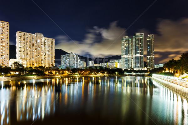 Résidentiel bâtiment Hong-Kong nuit Skyline rivière Photo stock © leungchopan