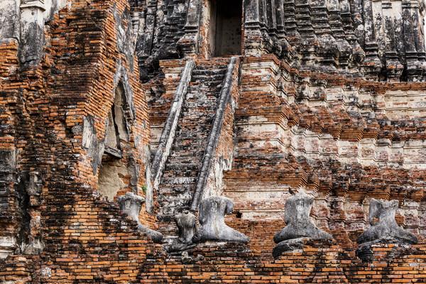 Antica pagoda Thailandia gruppo pregare mattone Foto d'archivio © leungchopan