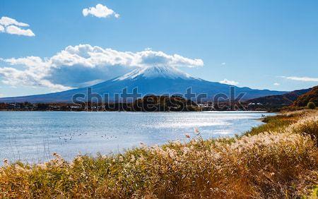 Montanha fuji lago céu paisagem azul Foto stock © leungchopan