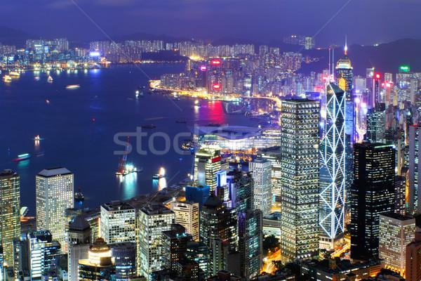 Hongkong Night City działalności budynku świetle szkła Zdjęcia stock © leungchopan