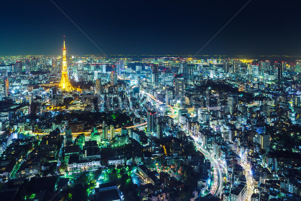 Tokyo cityscape at night Stock photo © leungchopan