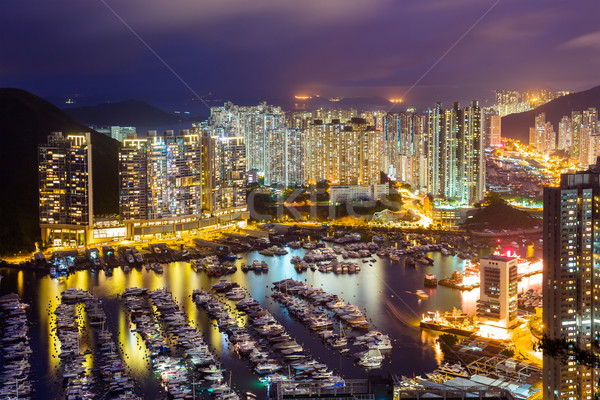 Typhoon shelter in Hong Kong during sunset Stock photo © leungchopan