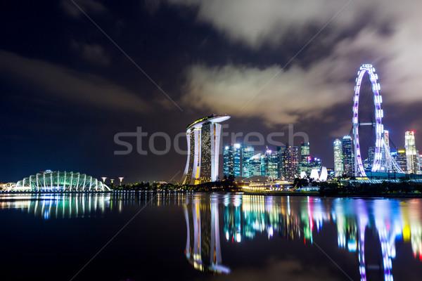 Singapore notte città mare urbana Foto d'archivio © leungchopan