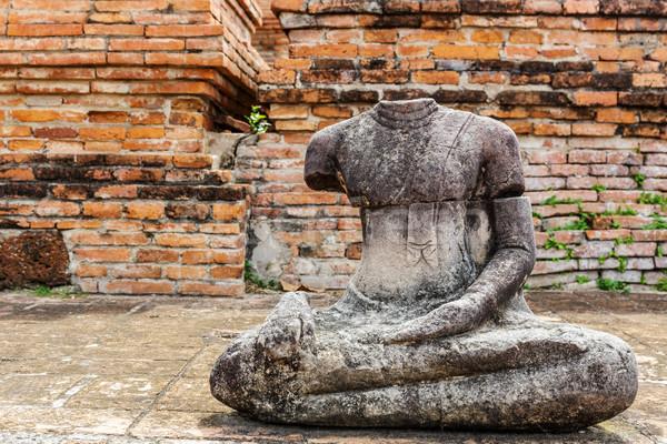 Törött Buddha Thaiföld tégla építészet park Stock fotó © leungchopan