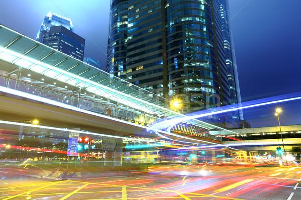 Traffic trail in city Stock photo © leungchopan