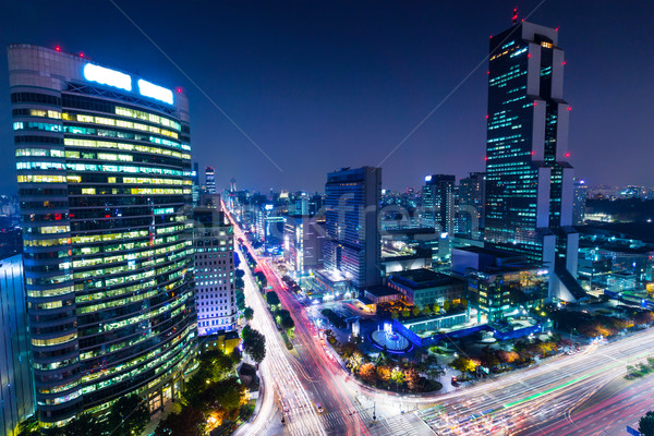 Dzielnica Seul noc budynku miasta krajobraz Zdjęcia stock © leungchopan