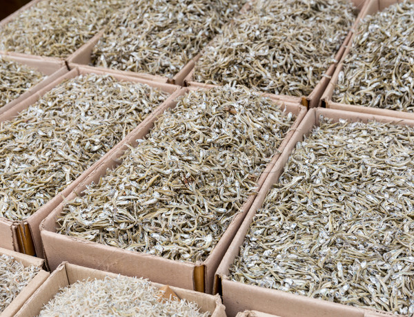 Stock photo: Dried salty fish in food market