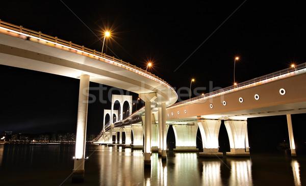 ван моста воды дороги морем ночь Сток-фото © leungchopan
