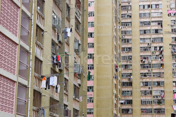 Hongkong publicznych obudowa apartamentu niebo krajobraz Zdjęcia stock © leungchopan