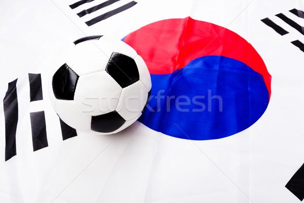 South Korean flag with football Stock photo © leungchopan
