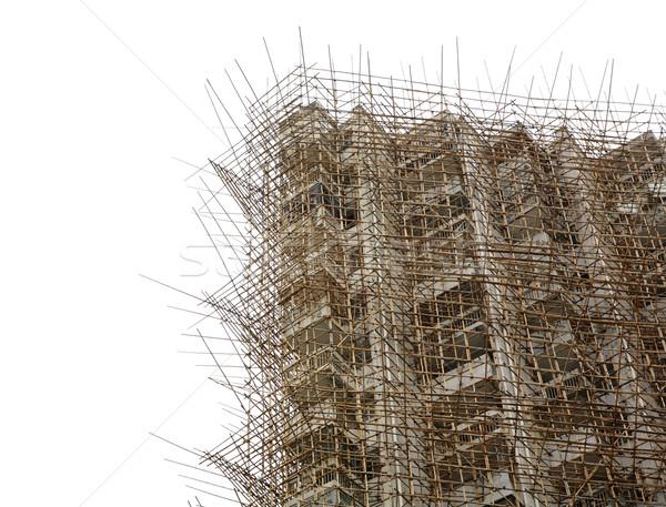 Bambu andaime céu industrial arquitetura Foto stock © leungchopan
