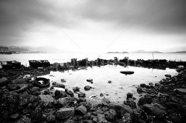 Czarno białe tekstury streszczenie metal ziemi Zdjęcia stock © leungchopan