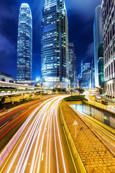 Hong-Kong cityscape nuit affaires ciel ville Photo stock © leungchopan