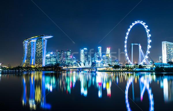 Stok fotoğraf: Singapur · şehir · gece · gökyüzü · su · şehir · ışık
