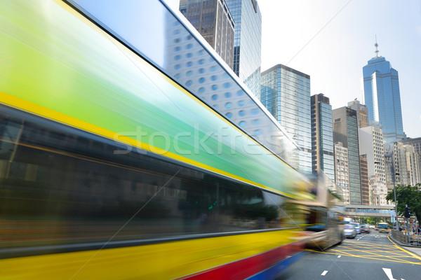 Busz száguld utca autó út kék Stock fotó © leungchopan