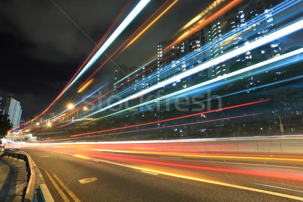 шоссе Гонконг автомобилей город свет фон Сток-фото © leungchopan