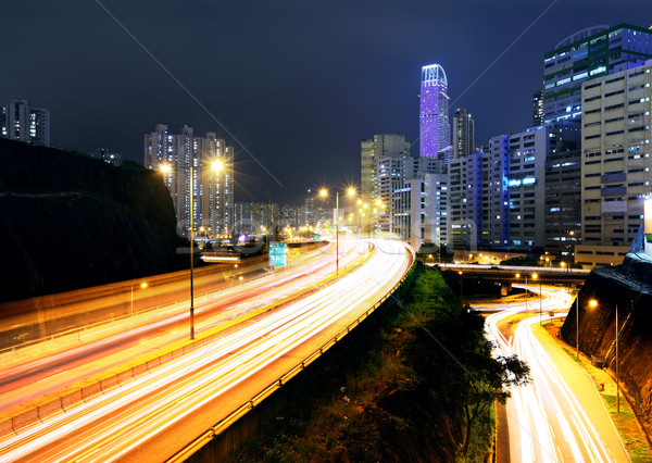 moving car with blur light through city at night Stock photo © leungchopan