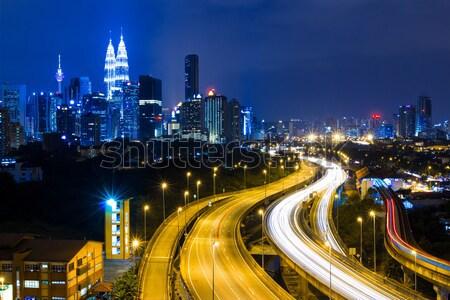 Kuala Lumpur ufuk çizgisi gece ofis şehir kentsel Stok fotoğraf © leungchopan
