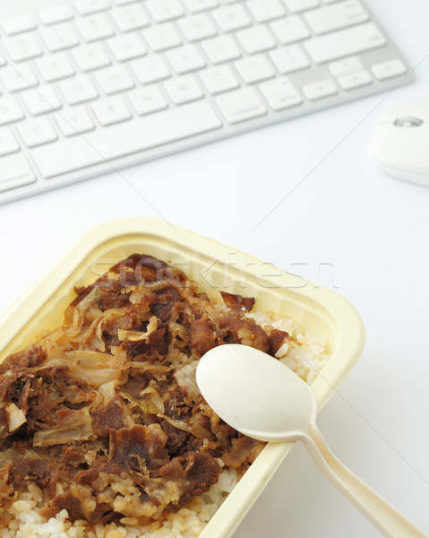 нездоровый обед окна служба столе мяса Сток-фото © leungchopan