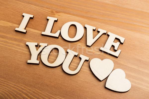 Vintage bois lettres expression amour texture Photo stock © leungchopan