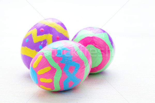 çocuklar boya renkli paskalya yumurtası Paskalya arka plan Stok fotoğraf © leungchopan