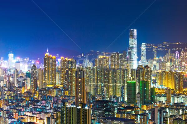 市中心 區 香港 城市 夜 天際線 商業照片 © leungchopan