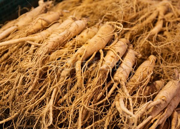 Ginseng marché alimentaire Asie contenant saine Photo stock © leungchopan