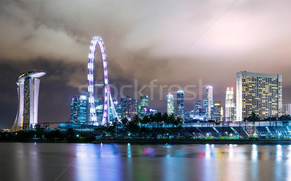 Stock photo: Singapore city skyline at night
