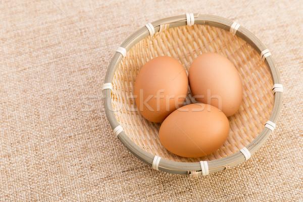 Stock fotó: Barna · kosárnyi · tojás · vászon · textúra · tojás · szín