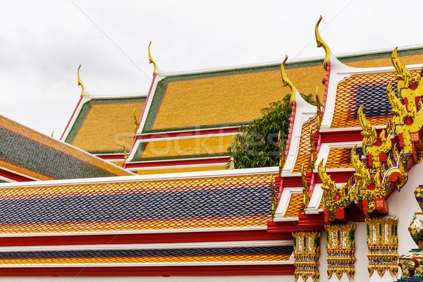 świątyni dachu Płytka wzór Tajlandia niebo Zdjęcia stock © leungchopan
