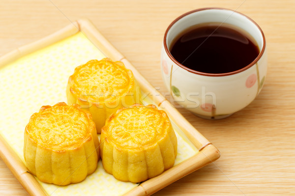 Chinese traditional mooncake and tea Stock photo © leungchopan