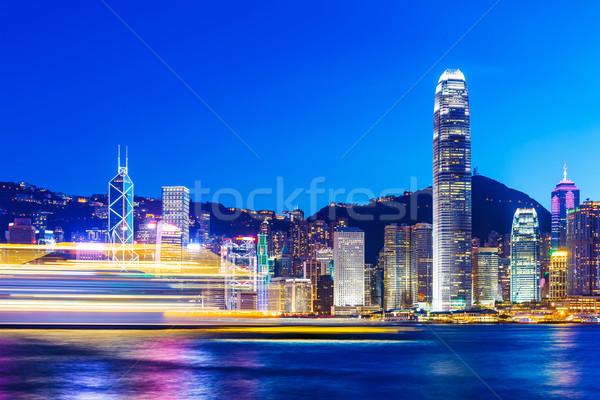 Hong-Kong Skyline nuit affaires bâtiment ville Photo stock © leungchopan