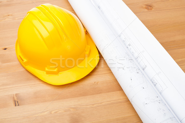 Architecture drawing and safety helmet Stock photo © leungchopan