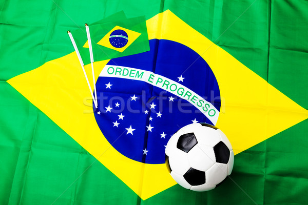 ストックフォト: サッカーボール · フラグ · サッカー · スポーツ · サッカー · 緑